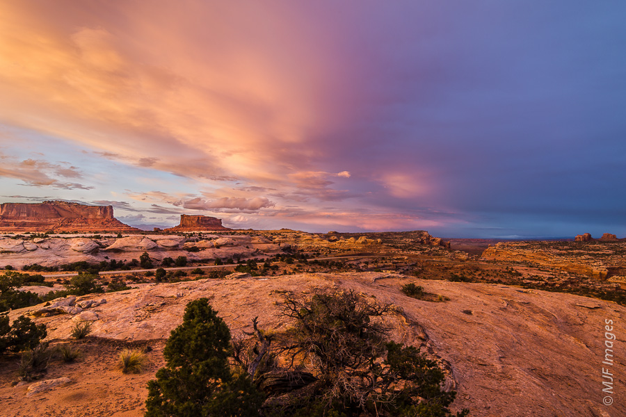 Beautiful sunset skies near Canyonlands National Park, Utah.