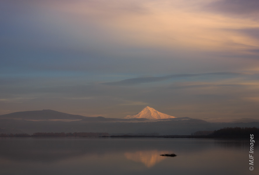 A recent image, this view of Mount Hood is one of the first good views of the mountain seen by the old explorers & mariners entering Oregon via the Columbia River.