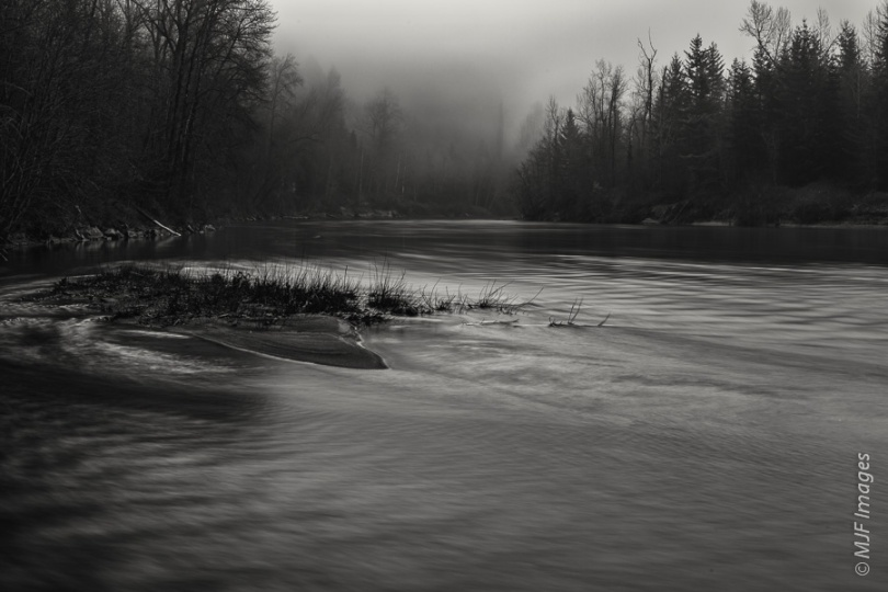Fog and wintertime set a mood along the Sandy River in northwestern Oregon.