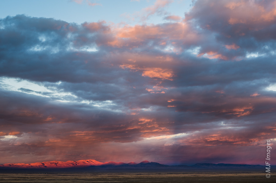 BIG SKY NEVADA:  A storm moves east out of the Great Basin in Nevada, leaving behind a glorious sky at sunset.