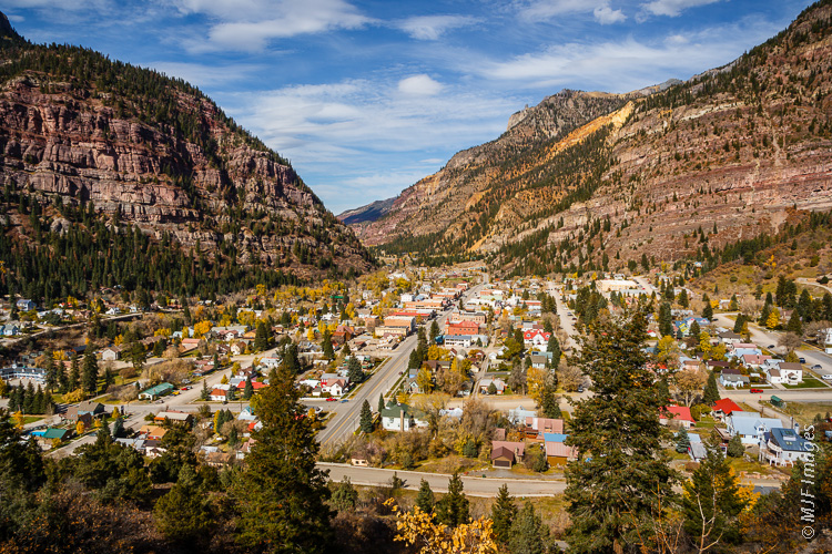 The mountain town of Ouray, Colorado is closely surrounded by the spectacular San Juan Mountains.