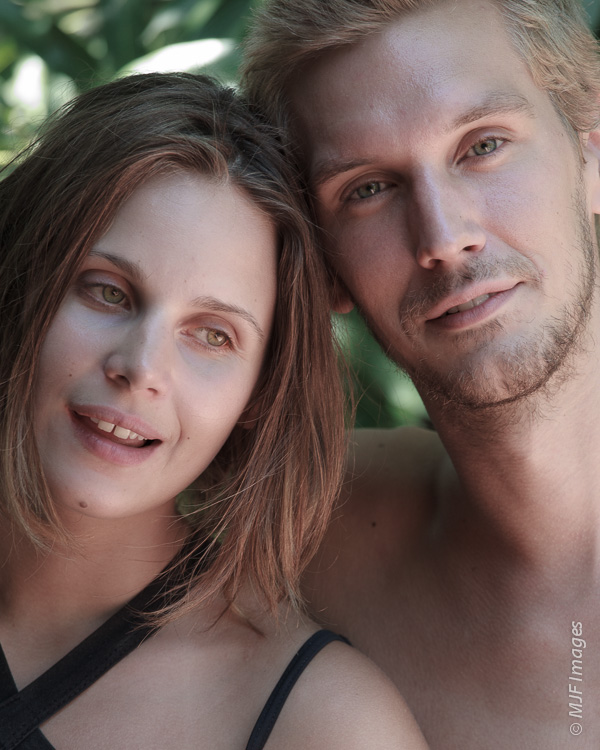 An attractive Norwegian couple on holiday on beautiful Laguna Apoyo, Nicaragua.