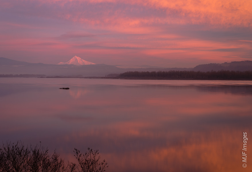 The pink light of a winter sunset catches a snowy Mount Hood over the Columbia River.
