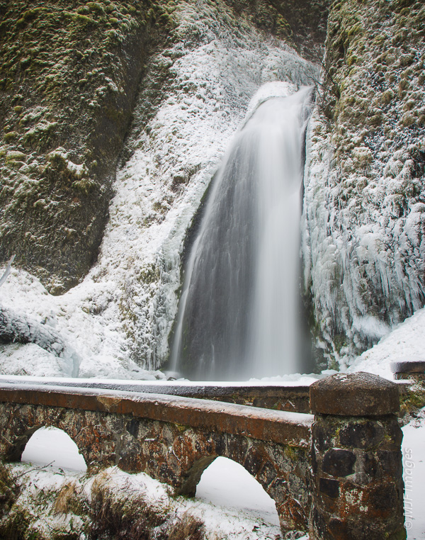 Wahkeena Falls in the Columbia River Gorge is an easy cascade to visit in wintertime, being just a short hike from the road.