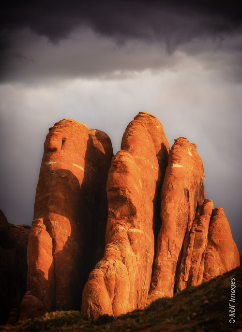 An image from Arches National Park in Utah profiles the park's typical 'fins' of orange sandstone.
