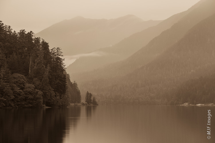 This image of Lake Crescent on Washington's Olympic Peninsula has the kind of low-key atmosphere that called for sepia and film grain.