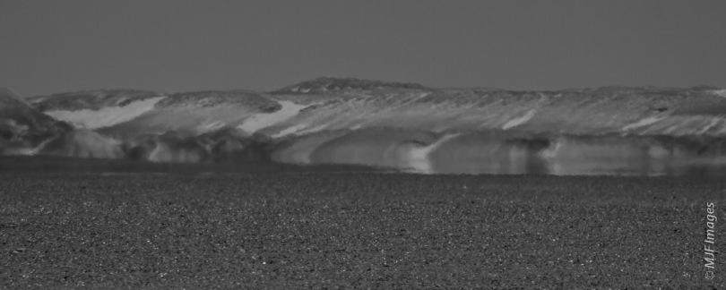 A mirage of a lake appears on Namibia's Skeleton Coast.