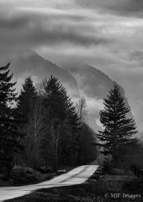 The Columbia River Gorge in Oregon draws in clouds and rain, viewed from a small back-road.