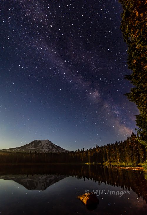 Don't forget night-time reflections:  Milky Way over Mt. Adams, Washington.