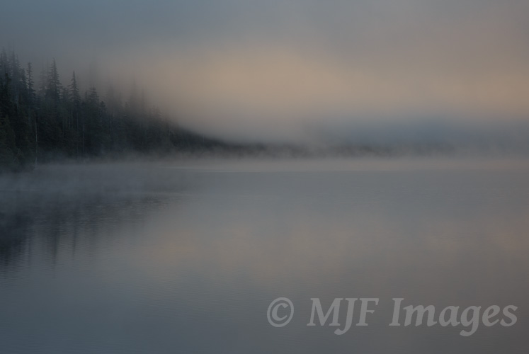 Mist over Lost Lake, Oregon.