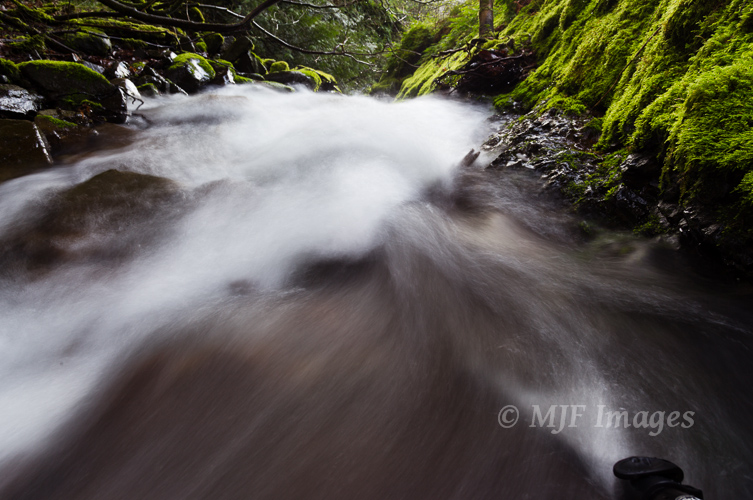 The very last image.  Just ahead is the lip of Summit Creek Falls.  Note my tripod leg; this is an unprocessed image.