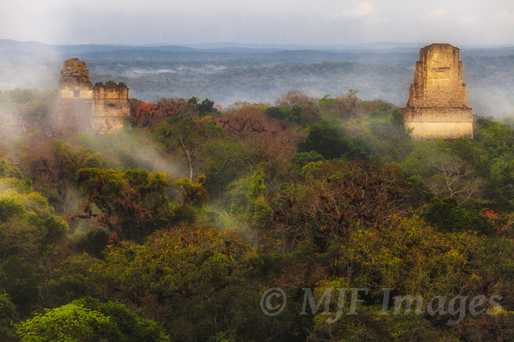 Mist and fog hang about the temples and pyramids of Tikal in Guatemala.