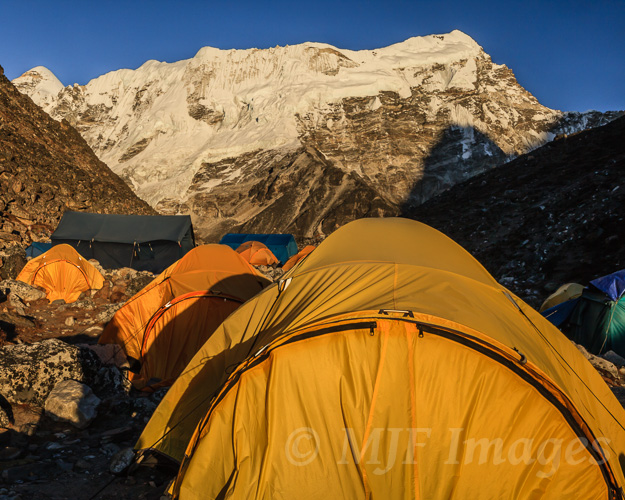 At base camp for Island Peak, night before summit day.  Sherpas hauled these tents.