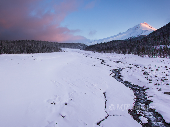 The White River Valley, living up to its name, and Mt. Hood at sunrise.