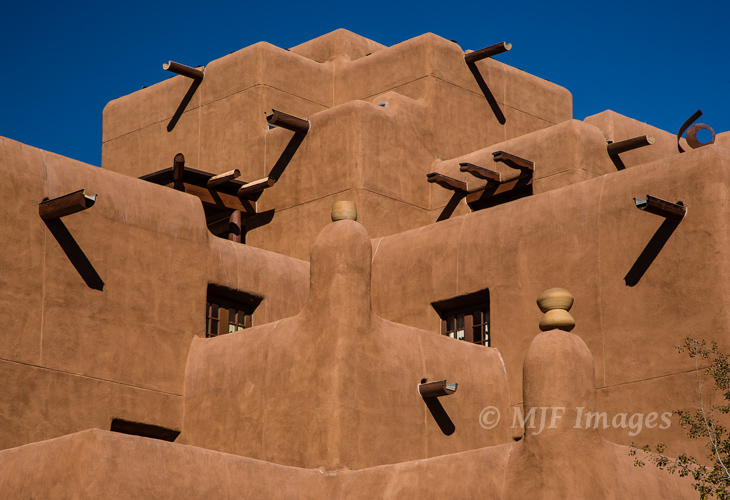 Adobe architecture in Santa Fe, New Mexico is a natural study in line and pattern.