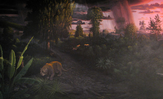 A diorama depicting life in central Oregon when the area closely resembled modern Panama, but with early mammals prowling the forest, many now extinct.