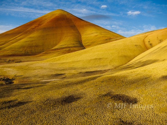 Morning light hits the Painted Hills in Oregon.