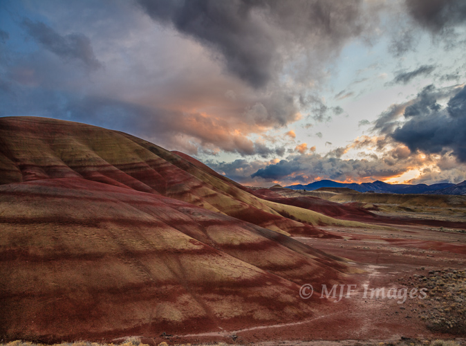 The Painted Hills in central Oregon take on subtle hues as dusk arrives.