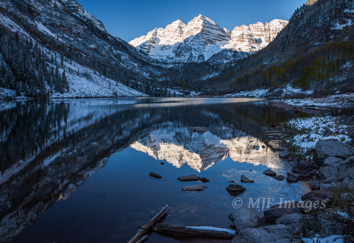 Maroon Lake in the Colorado Rockies at dawn.