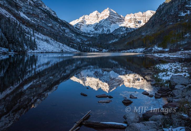 Maroon Lake in the Colorado Rockies at dawn.