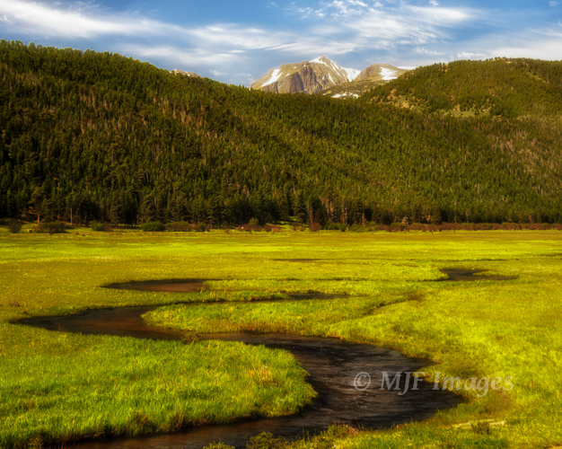 The Big Thompson River meanders through Moraine Park in Rocky Mountain National Park, Colorado.