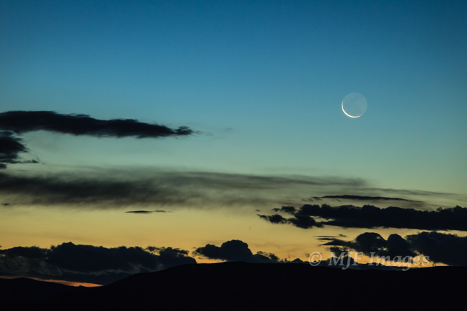 Crescent moon, middle of nowhere, Nevada, digital.