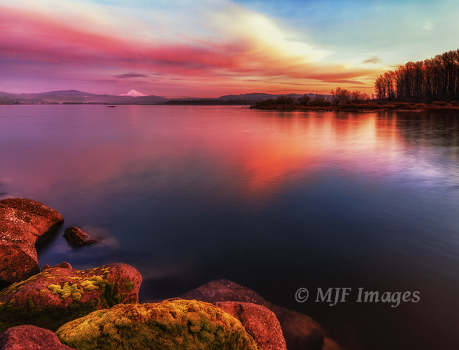 The Lower Columbia River flows peacefully seaward at dusk.  Oregon's Mount Hood in the distance.