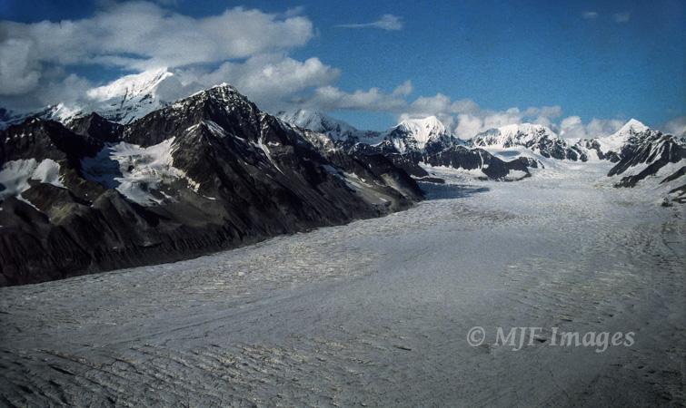 Flying over a glacier in the Alaska Range.