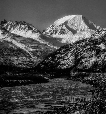 Mt Drum in the Wrangell Mtns. rises above the Copper River.