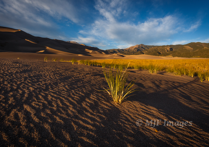Sunset approaches at Great Sand Dunes National Park, Colorado.