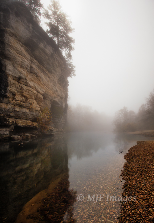 Fog and a full moon combine to create a unique atmosphere in which to shoot along the Buffalo River, Arkansas.