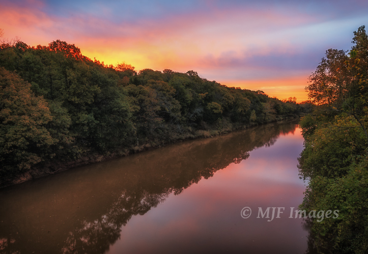 A muddy Canadian River at sunrise, Oklahoma.