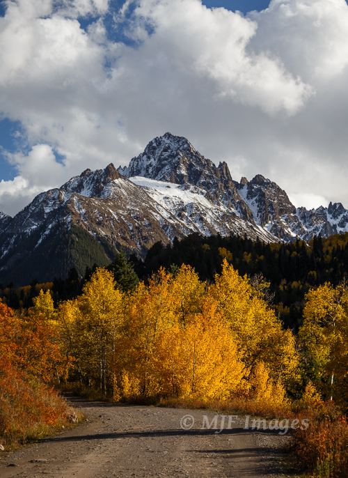 Heading up for a fall hike in the mountains, San Juan Mtns., Colorado