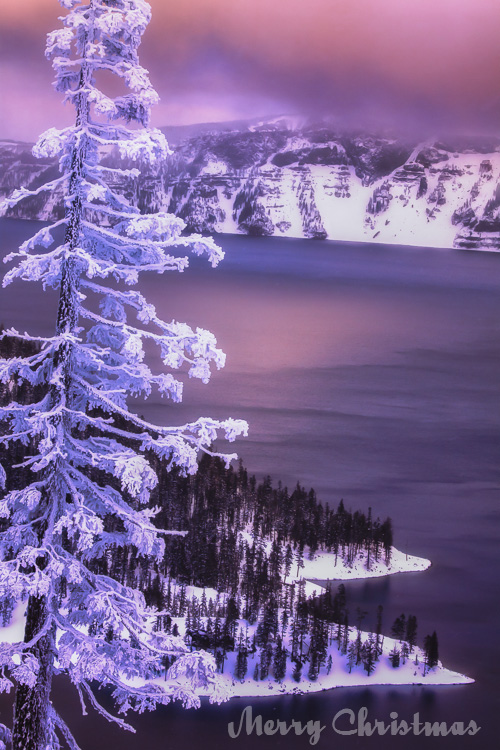A cold winter's dusk just after one of Crater Lake's typical heavy dumps of snow, followed by a moonlight ski back.