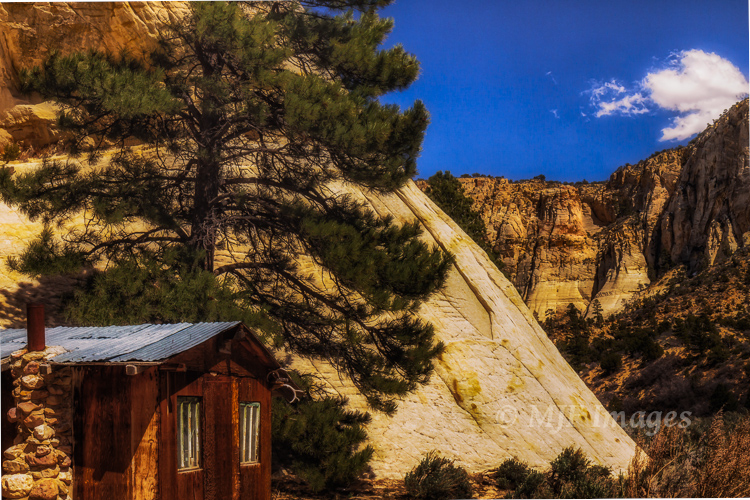To get to this little cabin in southern Utah, you need to get your (or your horse's) feet wet walking through a beautiful canyon.