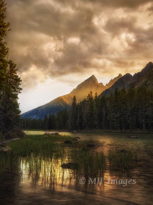 Teewinot Mountain and Grand Teton from String Lake.