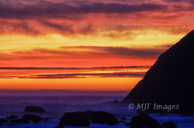 Sunset colors linger along the Oregon Coast.