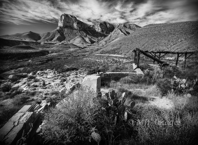 Afternoon light over the Guadalupe Mountains, TX was not forgiving for most landscapes, but when I found this old viewpoint on an abandoned road, I thought B&W would bring to mind traveling through in the old days.