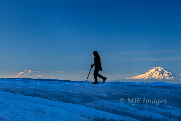 Enjoying the last flat section of the Cooper Spur route, north side of Mt. Hood, Oregon.