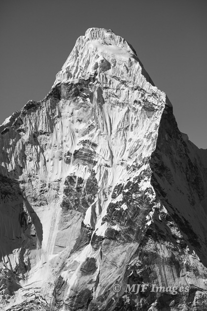 Ama Dablam in black and white.