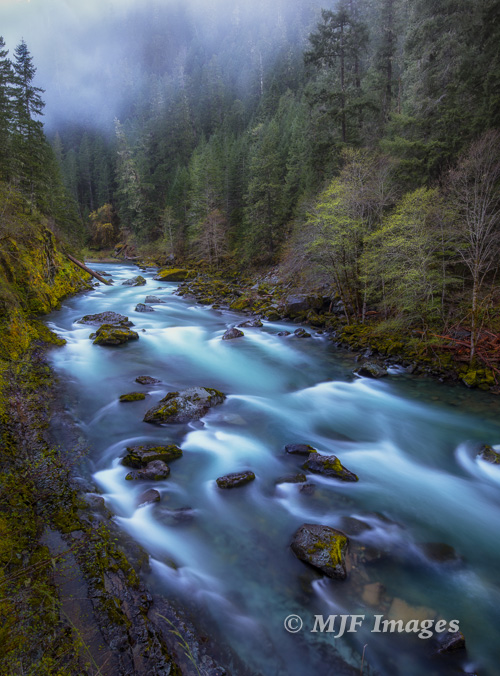 The North Umpqua River rushes out of the mountains bearing snowmelt from the southern Oregon Cascade Mtns.