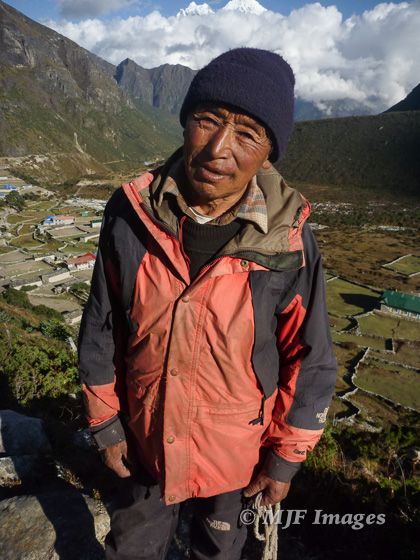 Having climbed Everest 8 times in his career, this Sherpa I met taking a walk above his home village had a great way about him.