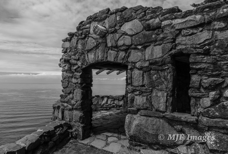 This old lookout at Cape Perpetua on the Oregon Coast was built by the CCC (Civilian Conservation Corps) in the 1930s as part of Franklin Roosevelt's jobs program.  21 mm., 1/80 sec. @ f/11, ISO 200.