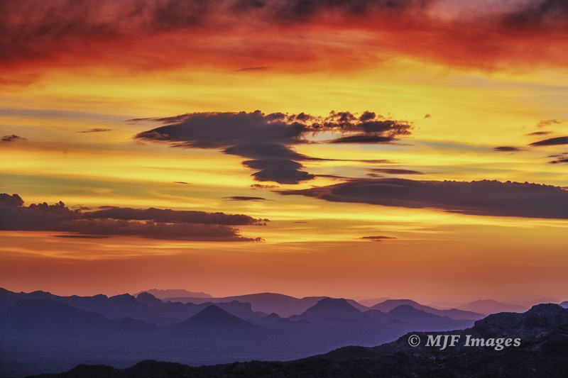 Sunset over mountains along the U.S. - Mexican border, southern Arizona.