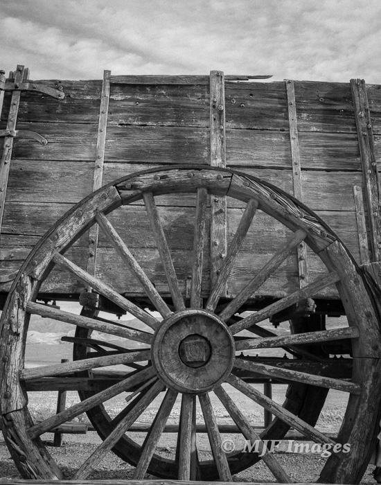 The old Death Valley Borax Works, with a heavy-duty wagon.  This wheel is six feet high.