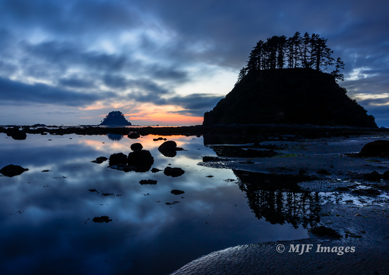 The edge of the continent, and the edge of night, at the westernmost point of the contiguous United States, Cape Alava, Washington.
