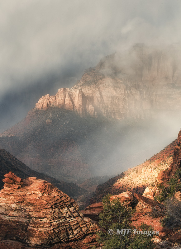 A recent November storm moves into Zion National Park, Utah.