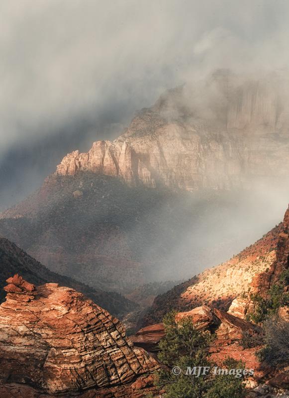 A recent November storm moves into Zion National Park, Utah.