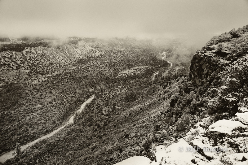 Waking up to a snowy morning at the rim of the Rio Grande Canyon, New Mexico.