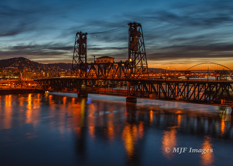 End of the golden hour transitioning to night: Portland, Oregon.